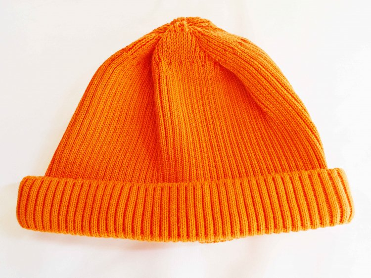 COTTON ROLL UP BEANIE 【ORANGE】 / RoToTo