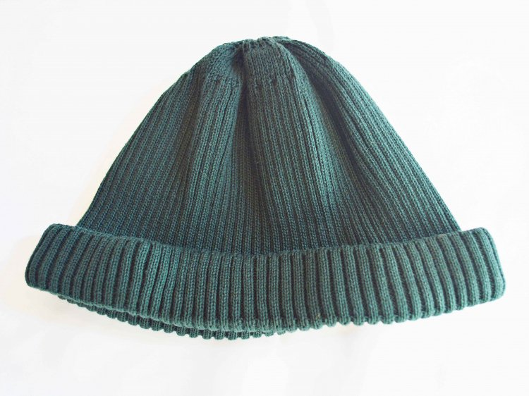 COTTON ROLL UP BEANIE 【D.GREEN】 / RoToTo