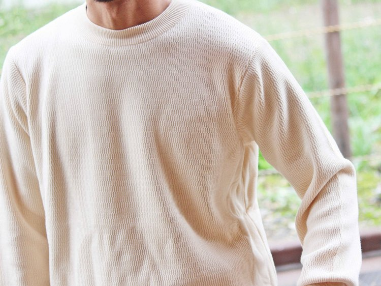 COTTON THERMAL L/S KNIT 【IVORY】 / RoToTo