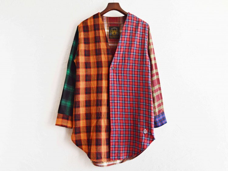 ALDIES アールディーズ / Collarless Nel Long Shirt ロングシャツ (BROWN / ブラウン)
