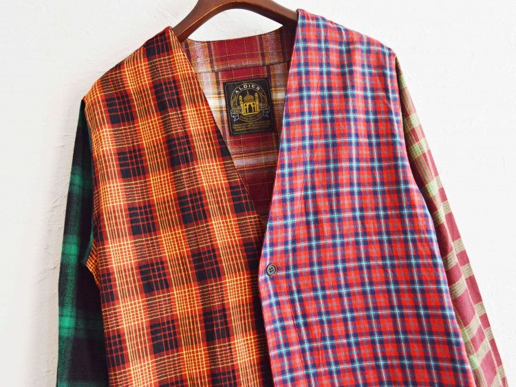 ALDIES アールディーズ / Collarless Nel Long Shirt ロングシャツ (BROWN / ブラウン)<img class='new_mark_img2' src='https://img.shop-pro.jp/img/new/icons1.gif' style='border:none;display:inline;margin:0px;padding:0px;width:auto;' />