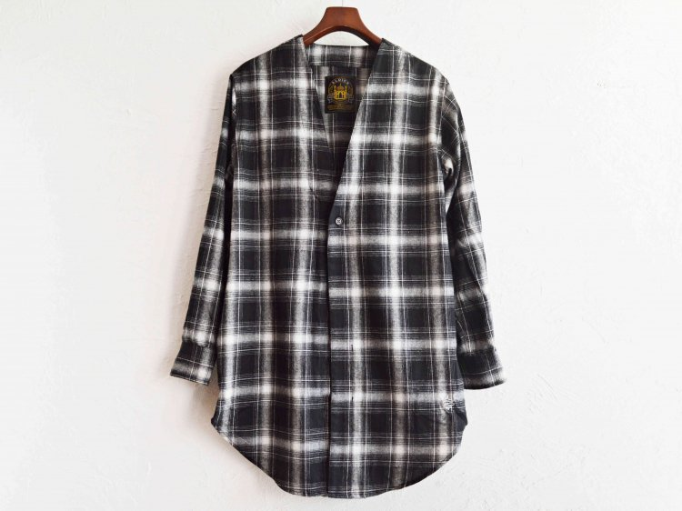 ALDIES アールディーズ / Collarless Nel Long Shirt ロングシャツ (BLACK / ブラック)