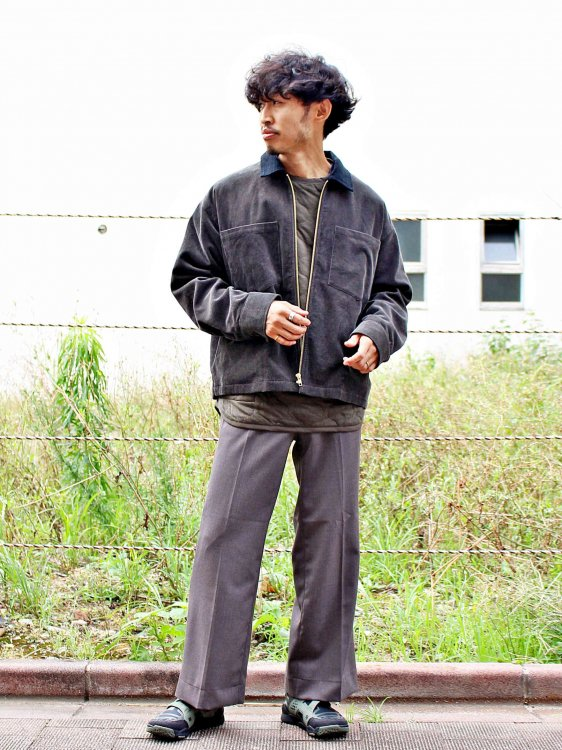 modemdesign モデムデザイン / Corduroy Zip Up Blouson コーデュロイジップブルゾン(CHACOALl×BLACK チャコールブラック)<img class='new_mark_img2' src='https://img.shop-pro.jp/img/new/icons1.gif' style='border:none;display:inline;margin:0px;padding:0px;width:auto;' />
