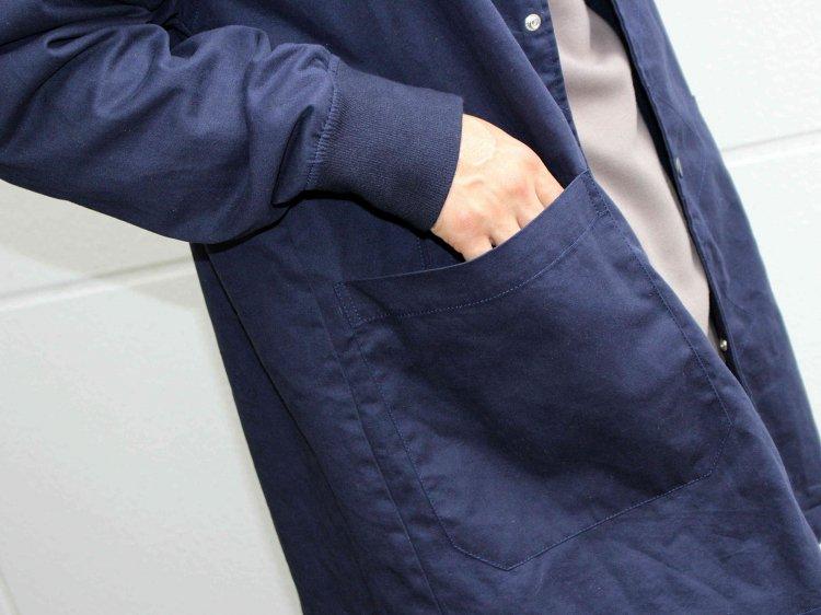 modemdesign モデムデザイン / STAND RIB LONG COAT スタンドリブロングコート (NAVY / ネイビー)