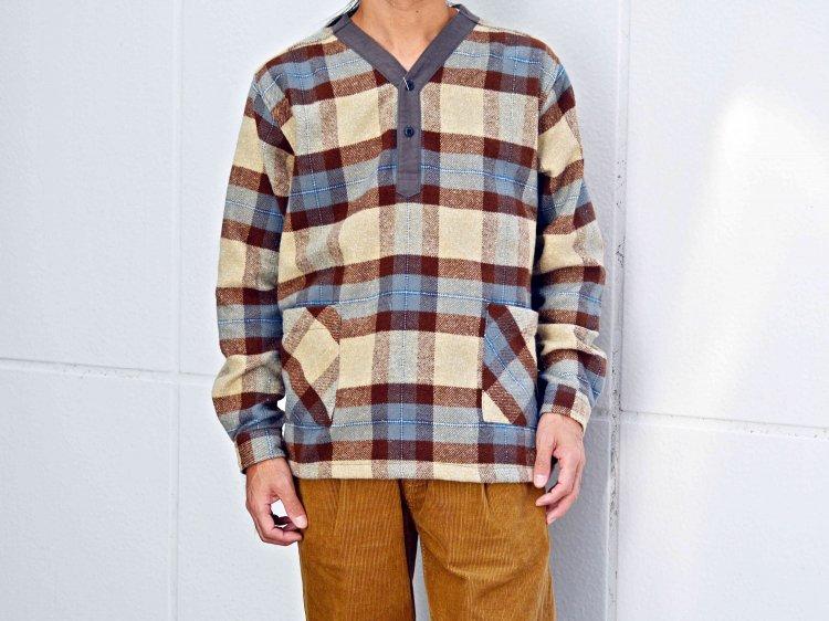 modemdesign モデムデザイン / check pull over shirt チェックプルオーバーシャツ (BEIGE×CAMEL / ベージュキャメル)