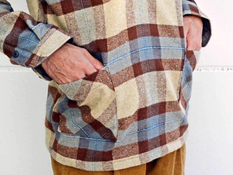 modemdesign モデムデザイン / check pull over shirt チェックプルオーバーシャツ (BEIGE×CAMEL / ベージュキャメル)<img class='new_mark_img2' src='https://img.shop-pro.jp/img/new/icons1.gif' style='border:none;display:inline;margin:0px;padding:0px;width:auto;' />