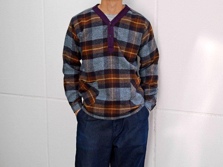 modemdesign モデムデザイン / check pull over shirt チェックプルオーバーシャツ (BROWN×PURPLE / ブラウンパープル)