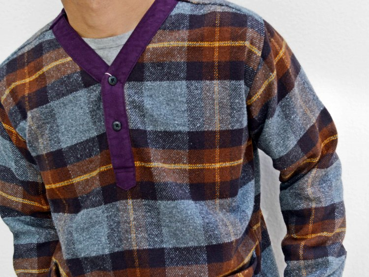 modemdesign モデムデザイン / check pull over shirt チェックプルオーバーシャツ (BROWN×PURPLE / ブラウンパープル)<img class='new_mark_img2' src='https://img.shop-pro.jp/img/new/icons1.gif' style='border:none;display:inline;margin:0px;padding:0px;width:auto;' />