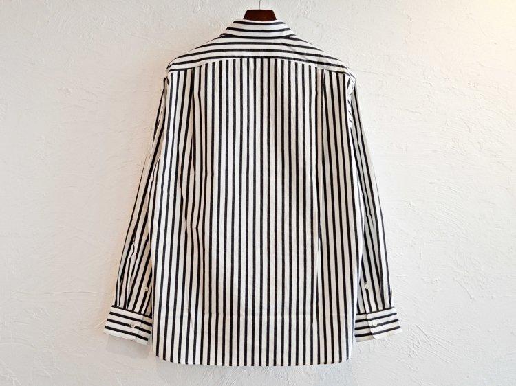 LAMOND ラモンド / COMFORTABLE STRIPE SHIRT ストライプシャツ (WHITE×BOLD BLACK ホワイト×ブラック)
