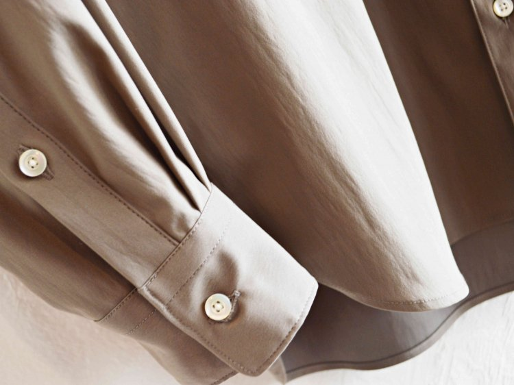 LAMOND ラモンド / COMFORTABLE BACK SATIN SHIRT バックサテンシャツ (KHAKI GRAY カーキグレー)