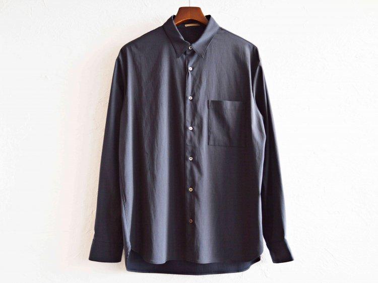 LAMOND ラモンド / COMFORTABLE BACK SATIN SHIRT バックサテンシャツ (DARK NAVY ダークネイビー )