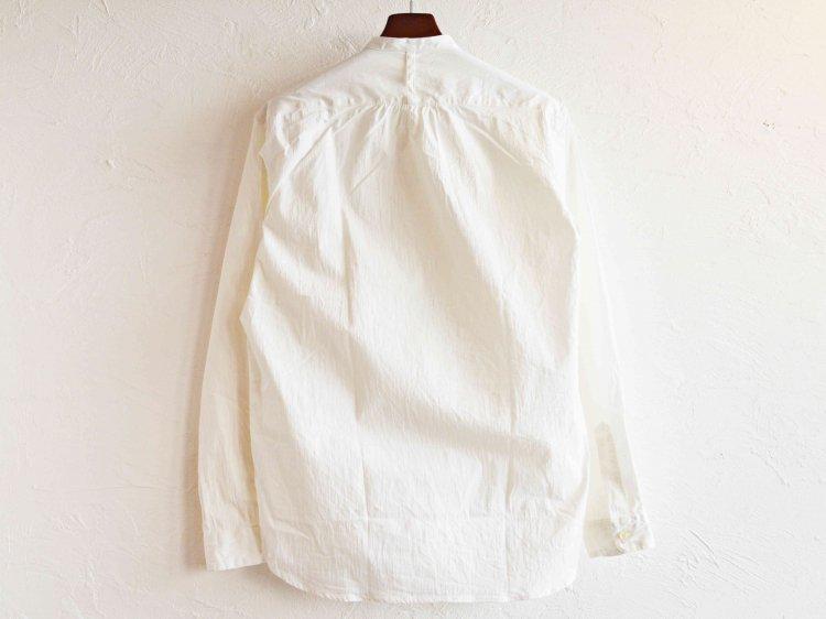 SHARKEY'S シャーキーズ / STAND COLLAR SHIRT スタンドカラ—シャツ (WHITE ホワイト)