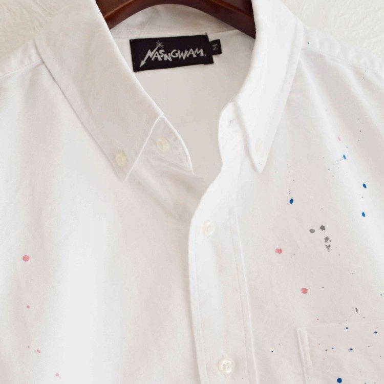 Nasngwam. ナスングワム  / SCATTER L/S SHIRTS ボタンダウンシャツ (WHITE ホワイト)