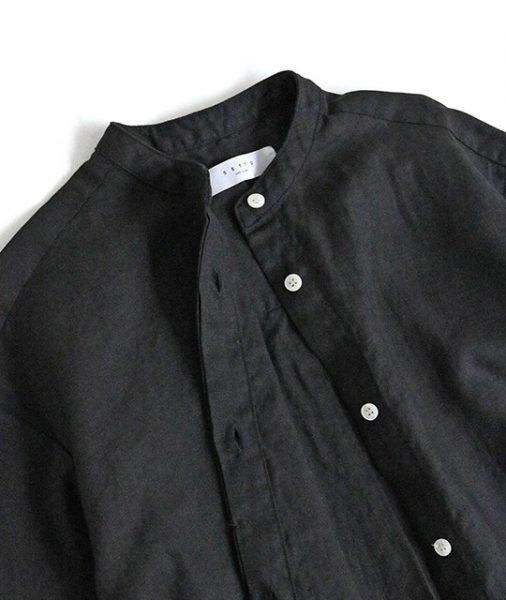 SETTO セト / VILLA SHIRT リネン半袖シャツワンピース (BLACK ブラック)