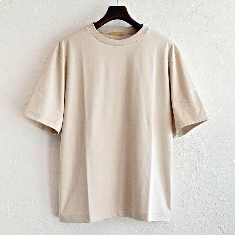 LAMOND ラモンド/ SUVIN COTTON 5分袖 T-shirt スビンコットンTシャツ (BEIGE GRAY ベージュグレー)