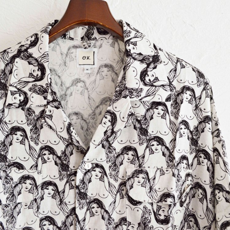 O.K オーケー / Oppai S/S SHIRTS 総柄半袖シャツ (WHITE ホワイト)<img class='new_mark_img2' src='https://img.shop-pro.jp/img/new/icons1.gif' style='border:none;display:inline;margin:0px;padding:0px;width:auto;' />
