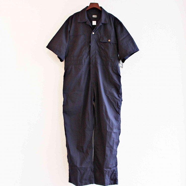 KEY キー / Poplin Unlined Coveralls,Short Sleeve 半袖ツナギ (NAVY ネイビー)