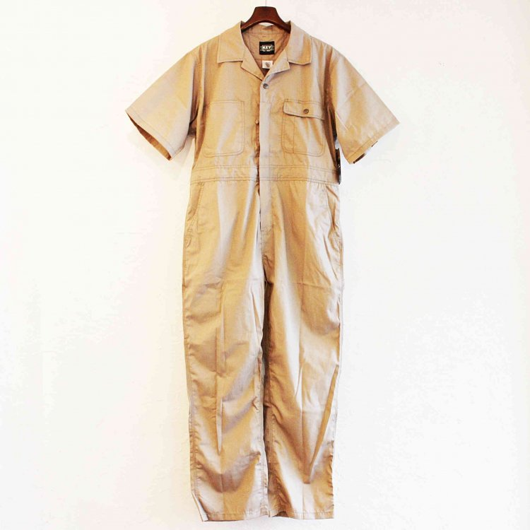 KEY キー / Poplin Unlined Coveralls,Short Sleeve 半袖ツナギ (KHAK カーキ)
