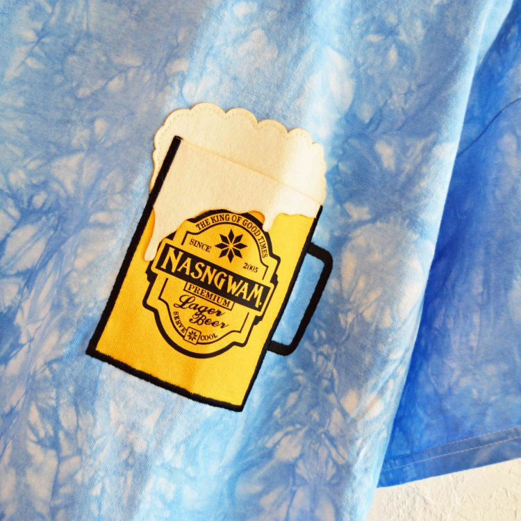 Nasngwam. ナスングワム / HAPPY BEER ハッピービールTシャツ (BLUE ブルー)<img class='new_mark_img2' src='https://img.shop-pro.jp/img/new/icons1.gif' style='border:none;display:inline;margin:0px;padding:0px;width:auto;' />