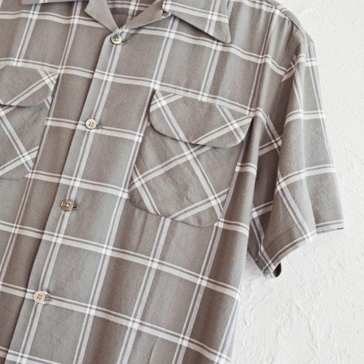 necessary or unnecessary ネセサリーオアアンネセサリー N.O.U.N ナウン / OPEN SHIRTS 'CHECK' オープンカラー半袖シャツ (GRAY グレー)