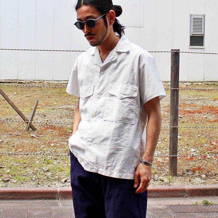 necessary or unnecessary ネセサリーオアアンネセサリー N.O.U.N ナウン / SAFARI 半袖シャツ (WHITE ホワイト)