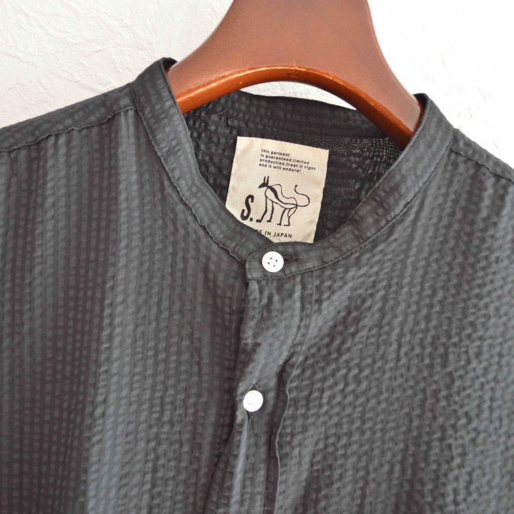 SHARKEY'S シャーキーズ / Shea soccer PULL OVER SHIRTS シアサッカープルオーバーシャツ (BLACK ブラック)