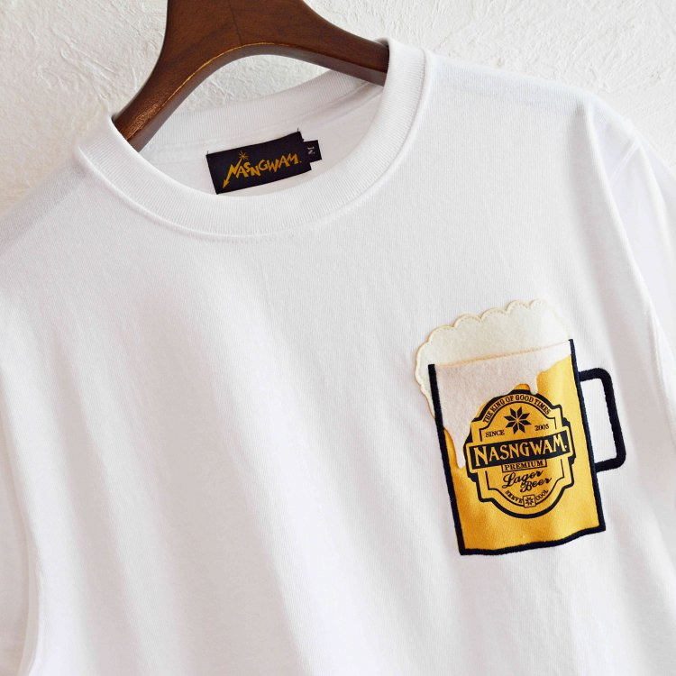 Nansgwam. ナスングワム / BEER ビールTEE (WHITE ホワイト)<img class='new_mark_img2' src='https://img.shop-pro.jp/img/new/icons1.gif' style='border:none;display:inline;margin:0px;padding:0px;width:auto;' />