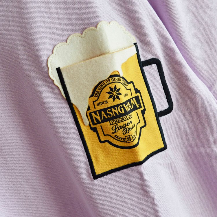 Nansgwam. ナスングワム / BEER ビールTEE (LIGHT PURPLE ライトパープル)<img class='new_mark_img2' src='https://img.shop-pro.jp/img/new/icons1.gif' style='border:none;display:inline;margin:0px;padding:0px;width:auto;' />