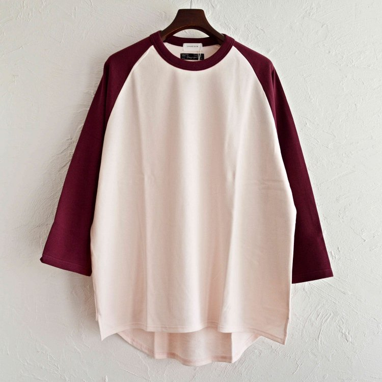 Nasngwam.×SPINNER BAIT ナスングワム スピナーベイト / BASEBALL TEE ベースボールTシャツ (LT PINK×BURGUNDY ライトピンク バーガンディー)