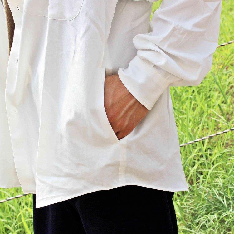 LAMOND ラモンド / COTTON BOLD SHIRT JACKET コットンボールドシャツジャケット (WHITE ホワイト)