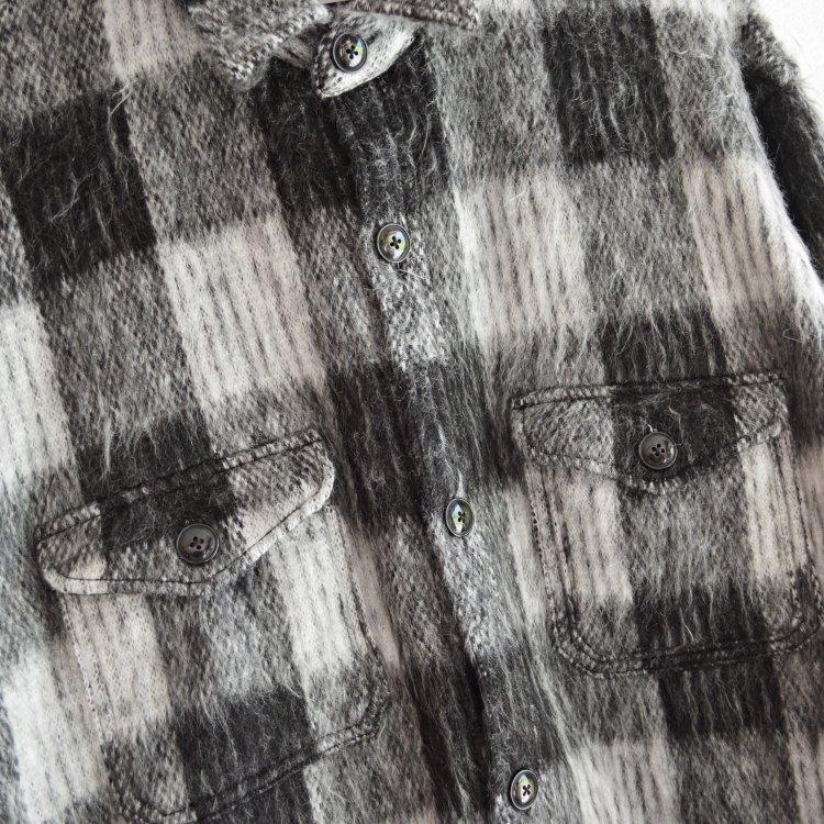 melple メイプル / Berkeley Over Shirts Shaggy check オーバーシャツ (BLACK ブラック)