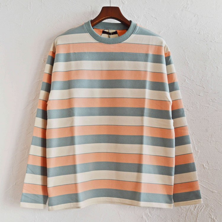 modemdesign モデムデザイン / PALE TONE STRIPED CREW NECK ボーダーロンTEE (PINK ピンク)