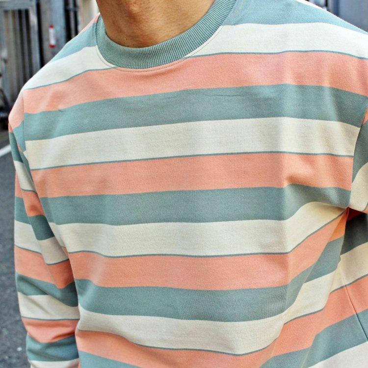 modemdesign モデムデザイン / PALE TONE STRIPED CREW NECK ボーダーロンTEE (PINK ピンク)<img class='new_mark_img2' src='https://img.shop-pro.jp/img/new/icons1.gif' style='border:none;display:inline;margin:0px;padding:0px;width:auto;' />