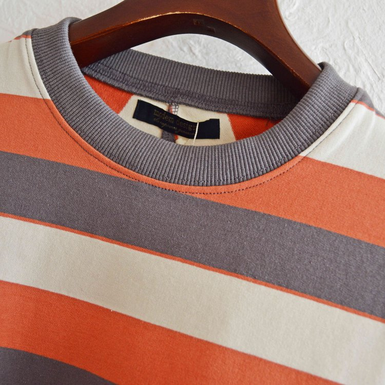 modemdesign モデムデザイン / PALE TONE STRIPED CREW NECK ボーダーロンTEE (CHARCOAL チャコール)<img class='new_mark_img2' src='https://img.shop-pro.jp/img/new/icons1.gif' style='border:none;display:inline;margin:0px;padding:0px;width:auto;' />