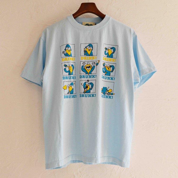 Nasngwam. ナスングワム / REMOTE DRINKING TEE プリントTシャツ(LIGHT BLUE ライトブルー)