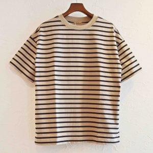 LAMOND ラモンド / PERU COTTON BORDER T-Shirt  ボーダーTシャツ (BEIGE×BLACK ベージュブラック)