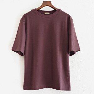 LAMOND ラモンド/ SUVIN COTTON 5分袖 T-shirt スビンコットンTシャツ (WINE-RED ワインレッド)