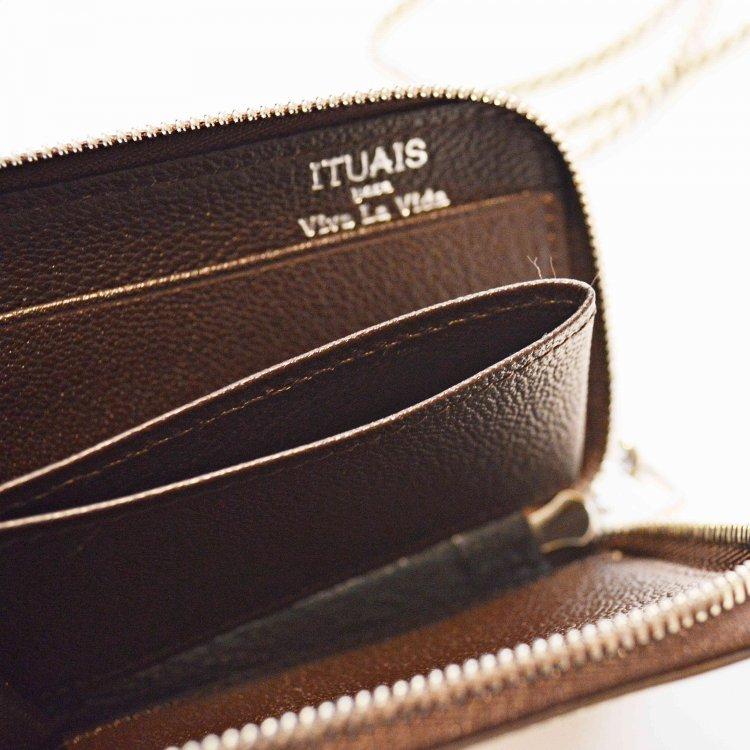 ITUAIS イトゥアイス / Montado Neck Mini Wallet モンタードネックミニウォレット (Cream/Dark Brown クリームダークブラウン)
