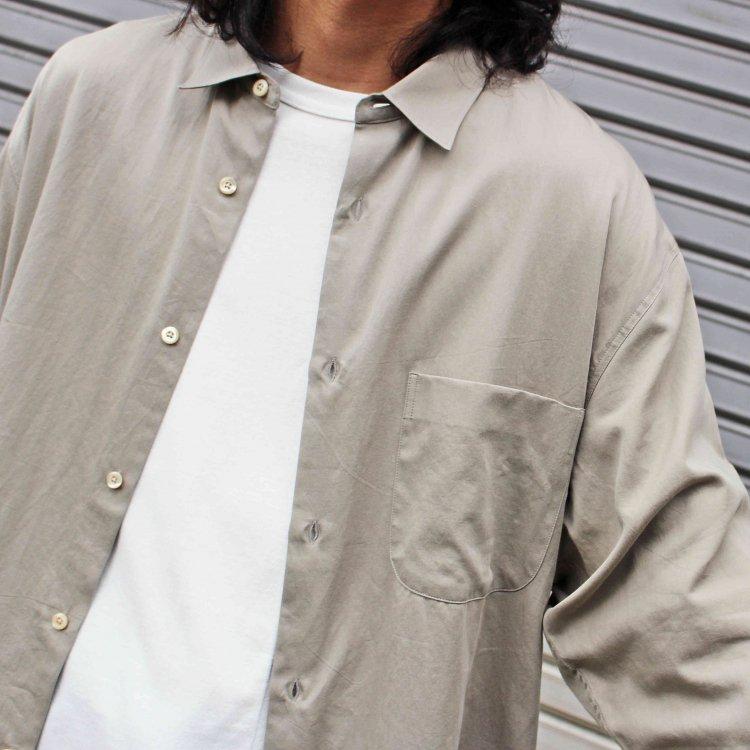 LAMOND ラモンド / SUPIMA COTTON BOLD SHIRT JACKET スーピマコットンボールドシャツジャケット (GRAY BEIGE グレーベージュ)