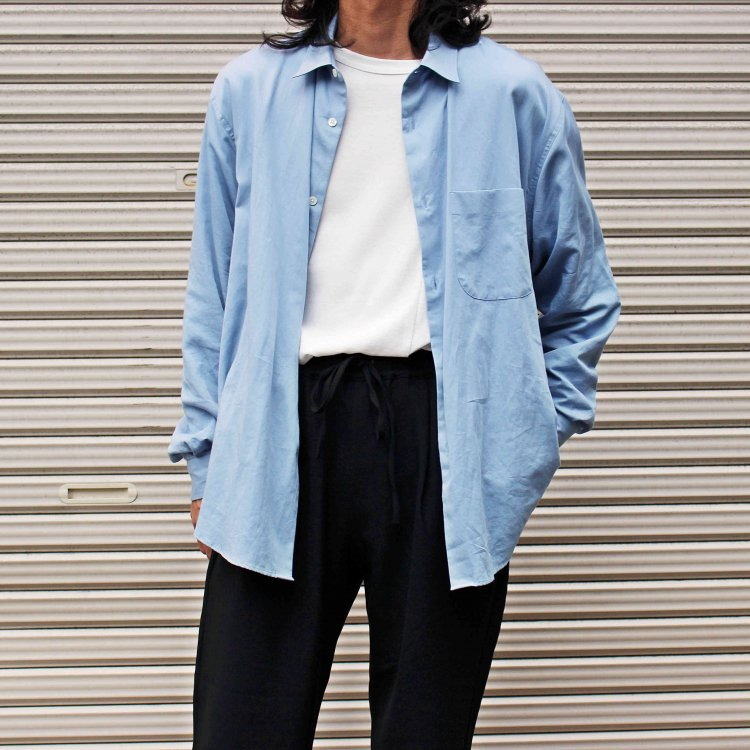 LAMOND ラモンド / SUPIMA COTTON BOLD SHIRT JACKET スーピマコットンボールドシャツジャケット (SAX サックス)