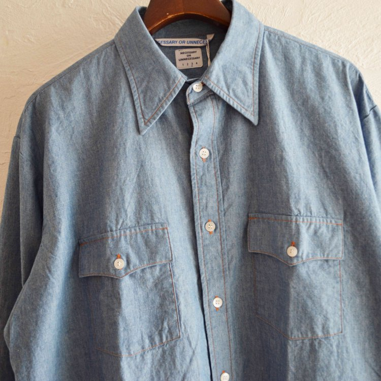 necessary or unnecessary ネセサリーオアアンネセサリー N.O.U.N ナウン / W/W SHIRTS CHAMBRAY (BLUE ブルー)<img class='new_mark_img2' src='https://img.shop-pro.jp/img/new/icons1.gif' style='border:none;display:inline;margin:0px;padding:0px;width:auto;' />
