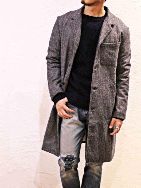 Wool Linen Herringbone WORK COAT 【NAVY】 / YARMO ヤーモ
