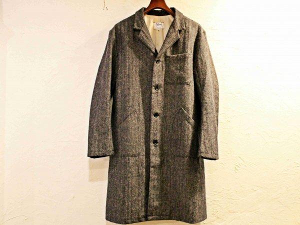 Wool Linen Herringbone WORK COAT 【NAVY】 / YARMO