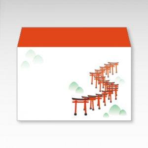 千本鳥居(伏見稲荷大社)/お札用ぽち袋(中)5枚【横型ぷち封筒】