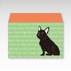 フレンチブルドッグ(グリーン)犬/お札用ぽち袋(中)5枚【横型ぷち封筒】