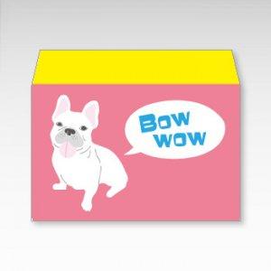 フレンチブルドッグ(ピンク)犬/お札用ぽち袋(中)5枚【横型ぷち封筒】