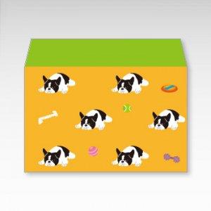 フレンチブルドッグ(オレンジ)犬/お札用ぽち袋(中)5枚【横型ぷち封筒】