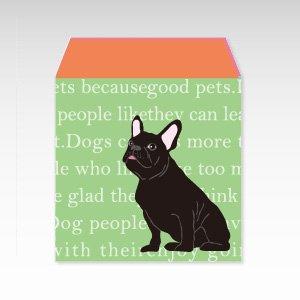 フレンチブルドッグ(グリーン)犬/コイン(硬貨)用ぽち袋(小)5枚