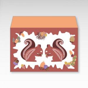 リスとどんぐり(リスとドングリ)/お札用ぽち袋(中)5枚【横型ぷち封筒】