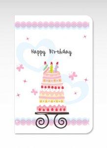 バースデーケーキ【グリーティングカード】(封筒付き)誕生日 お祝い